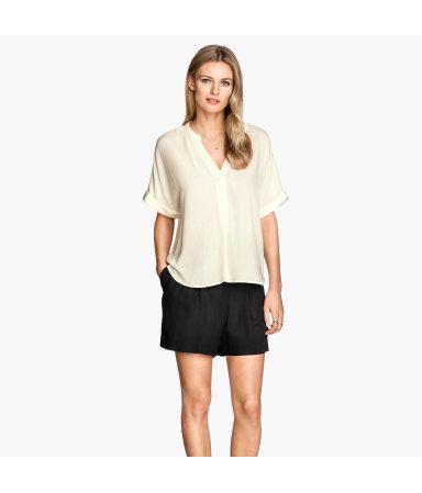 Блузка из жатой ткани (Натуральный белый)