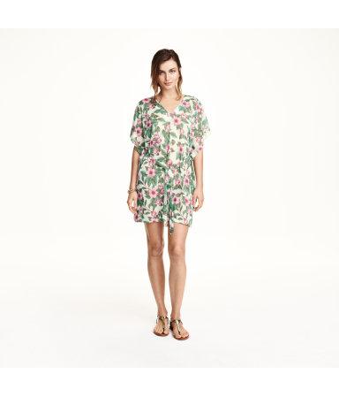 Пляжное платье (Белый, цветы)