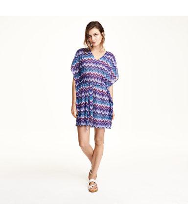 Пляжное платье (Синий/Узоры)