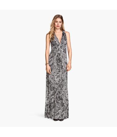 Длинное трикотажное платье (Белый/Узоры)